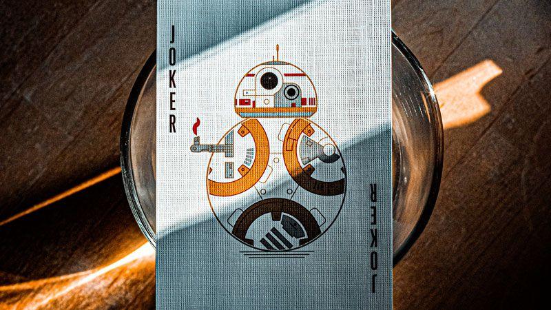 Joker Spielkarte mit Roboterbild aus Star Wars
